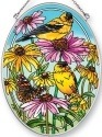 Amia 42471 Golden Finches Medium Oval Suncatcher
