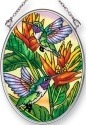 Amia 42486 Hummingbirds Golden Heliconia Small Oval Suncatcher