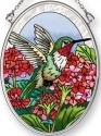 Amia 42492 Hummingbird Flower Small Oval Suncatcher