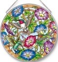 Amia 42529 Morning Glories and Hummers Large Circle Suncatcher