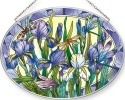 Amia 42551 Iris with Dragonflies Large Oval Suncatcher