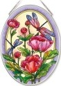 Amia 42564 Peonies & Dragonflies Medium Oval Suncatcher