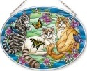 Amia 42628 Tiffany Garden Cat Large Oval Suncatcher