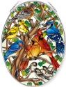 Amia 42798 Wild Birds Co op Large Oval Suncatcher