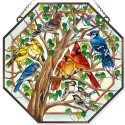 Amia 42802 Wild Birds Co op Beveled Glass Octagon Panel