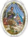 Amia 42815N Jesus Is Born Large Oval Suncatcher