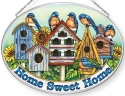 Amia 42858 Bluebirds and Birdhouse Large Oval Suncatcher