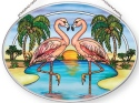 Amia 42874N Flamingo Heart Medium Oval Suncatcher