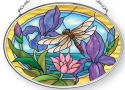 Amia 42881 Dragonflies & Irises Small Oval Suncatcher Horizontal