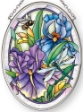 Amia 42886 Dragonflies & Irises Small Oval Suncatcher Vertical