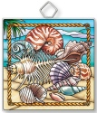 Amia 42918 Seaside Treasures Shells Square Suncatcher