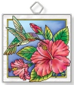 Amia 42932 Hummingbird and Hibiscus Square Suncatcher