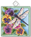 Amia 42934 Dragonfly & Pansies Square Suncatcher
