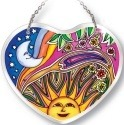 Amia 5184 Night and Day Small Heart Suncatcher