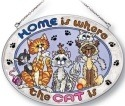 Amia 5191 Home Is Where The Cat Is Medium Oval Suncatcher
