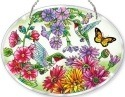 Amia 5235 Hummingbird Garden N Bloom Large Oval Suncatcher