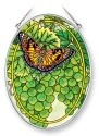 Amia 5380 American Lady and Sauvignon Medium Oval Suncatcher