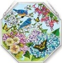 Amia 5420 Blue Skies Bluebirds Beveled Medium Octagon Panel