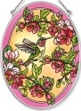 Amia 5509 Hummingbird and Cherry Blossm Medium Oval Suncatcher