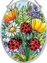 Amia 5511 Ladybugs & Flowers Medium Oval Suncatcher