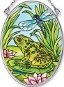 Amia 5546 Frog and Dragonfly Comp Small Oval Suncatcher