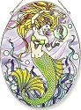 Amia 5809 Mermaid and Seahorse Large Oval Suncatcher