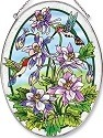 Amia 5904 Columbine and Hummingbird Large Oval Suncatcher