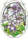 Amia 5905 Columbine and Hummingbird Medium Oval Suncatcher