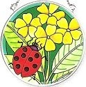 Amia 6140 Green Garden Ladybug Small Circle Suncatcher