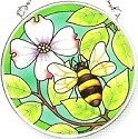 Amia 6141i Green Garden Bumblebee Small Circle Suncatcher