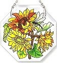 Amia 6192 Sunflowers Small Beveled Octagon Suncatcher