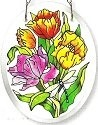 Amia 6194 Tulips Beveled Small Oval Suncatcher