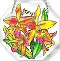 Amia 6199 Orchids Medium Beveled Octagon Suncatcher