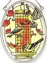 Amia 6284 Fall Birds Small Oval Suncatcher