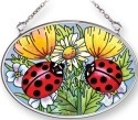 Amia 6681 Ladybugs and Flowers Small Oval Suncatcher