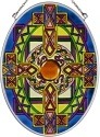 Amia 7135 Yellow Blue Jeweled Medium Oval Suncatcher