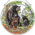 Amia 7163 Bear Family Large Circle Suncatcher