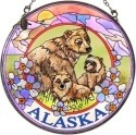 Amia 7406 Grizzly Bears Medium Circle Suncatcher