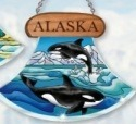 Amia 7443 Alaska Orcas Ulu Shaped Suncatcher