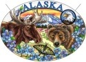 Amia 7452 Alaska Moose Bear Large Oval Suncatcher