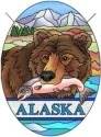Amia 7455 Alaska Fishing Bear Small Oval Suncatcher