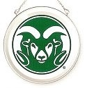 Amia 7529 Colorado State University Rams Beveled Medium Circle Suncatcher