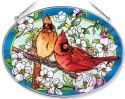 Amia 7556 Orchard Cardinals Large Oval Suncatcher