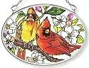Amia 7567 Orchard Cardinals Small Oval Suncatcher
