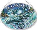 Amia 7577 Alaska Humpbacks Medium Oval Suncatcher