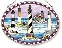 Amia 7777 Lighthouse Collage Large Oval Suncatcher