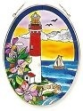 Amia 7789 Pansies Lighthouse Large Oval Suncatcher