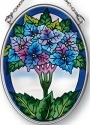 Amia 7904 Blue Hydrangea Small Oval Suncatcher