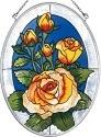 Amia 7942 Yellow Rose Medium Oval Suncatcher