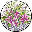 Amia 8414 Lilies and Buds Large Circle Panel